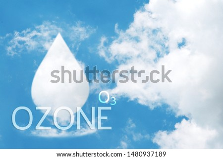 Clouds shaped like water drops of ozone on blue sky background. Royalty-Free Stock Photo #1480937189