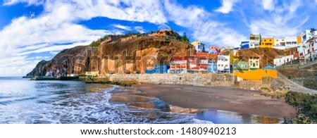 Grand canary island (Gran Canary) - beautiful coastal village Puerto de Sardina. canary islands of Spain Royalty-Free Stock Photo #1480940213