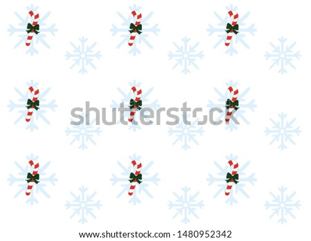 pattern of Christmas candies and snowflakes on a white background #1480952342