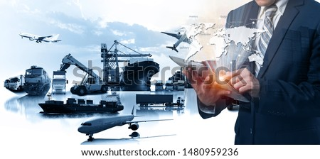 Multiple exposures of Businessman touching tablet for analyze stock at logistics port and world map with logistic network distribution on background, transportation trading business concept #1480959236