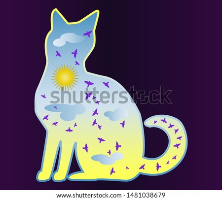 Cat-day. Silhouette of a cat painted with a day sky, with clouds, sun, birds