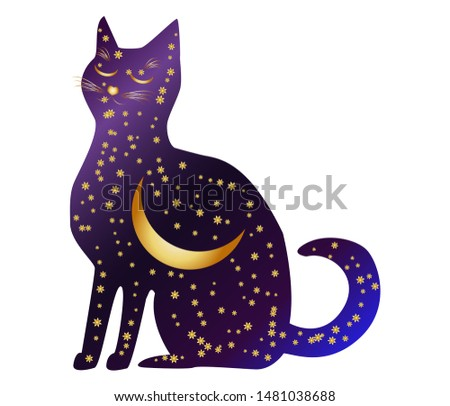Cat-night. Cat silhouettes painted with a night sky with stars and a young moon