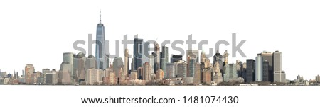 Panoramic view of Lower Manhattan from the Ellis Island - isolated on white. Clipping path included. #1481074430