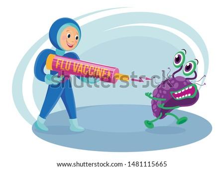 FLU VACCINE GUN.A MAN IN UNIFORM, SHIELDS AND GLOVES SHOOTS FROM ANTI-FLU GUN TO THE FLU VIRUS