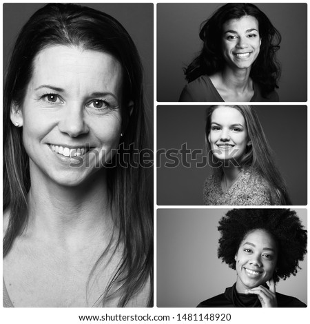 Group of strong women in front of a white background #1481148920