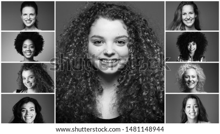 Group of strong women in front of a white background #1481148944