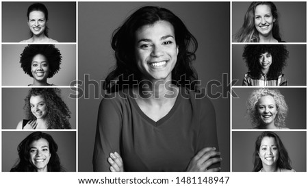 Group of strong women in front of a white background #1481148947