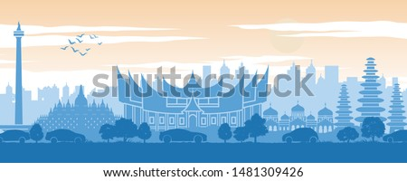 Indonesia famous landmark in back of car and street in scenery style silhouette design in blue and orange yellow color,vector illustration #1481309426