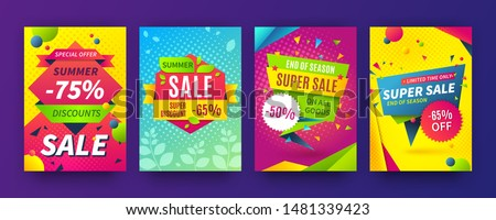 Banner sale poster. Promotion flyer, discount voucher template special offer market brochure. Vector image sale ads labels and set signage promo banners #1481339423