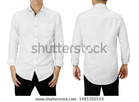 Man wear white long sleeve shirt, front and back view isolated on white #1481350514