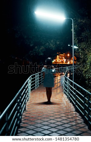 Back view of young lonely woman walking on the bridge at night                      #1481354780
