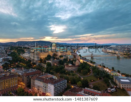 Sunset cityscape form Budapest with Buda Castle with drone. This is a very popular tourist destination in Buda side.  #1481387609