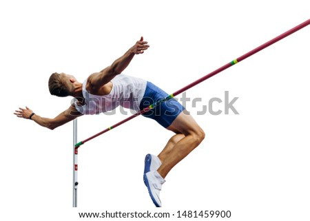 high jump athlete jumper over bar isolated on white background Royalty-Free Stock Photo #1481459900