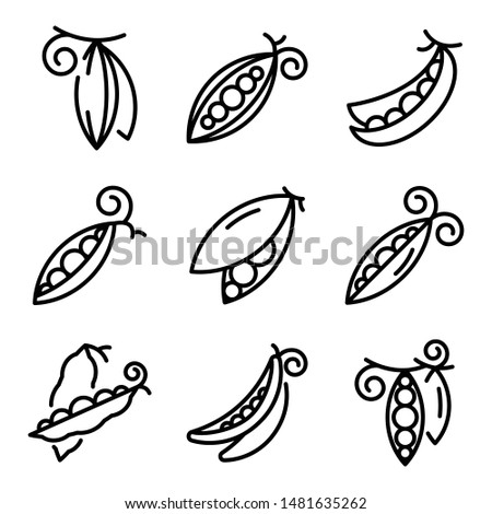 Peas icons set. Outline set of peas vector icons for web design isolated on white background Royalty-Free Stock Photo #1481635262