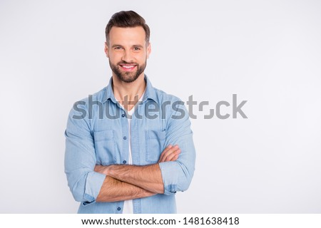 Portrait of his he nice-looking attractive masculine cheerful cheery bearded healthy content guy folded arms isolated over light white pastel background #1481638418