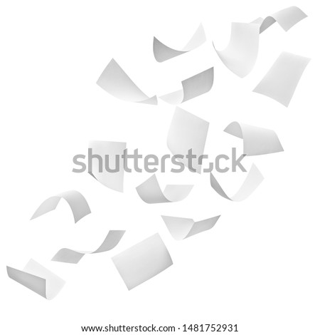 close up of flying papers on white background #1481752931
