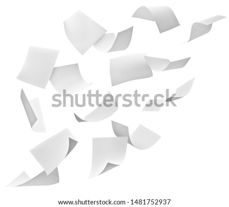 close up of flying papers on white background #1481752937