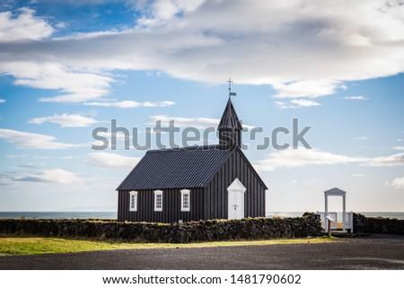 Icelandic black church at the Snaefellsness peninsula #1481790602
