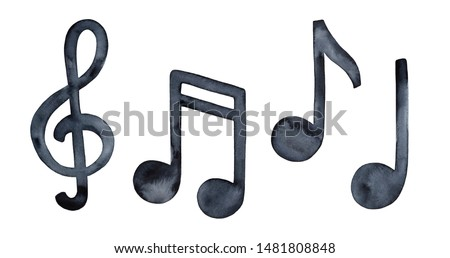 Watercolour illustration collection of musical symbols: clef and music notes. Handdrawn black water color grungy painting on white background, cut out clip art elements for creative design decoration.