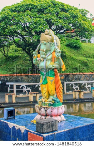 Ganesha Statue at famous Hindu temple at Grand Bassin lake, Mauritius,Africa #1481840516