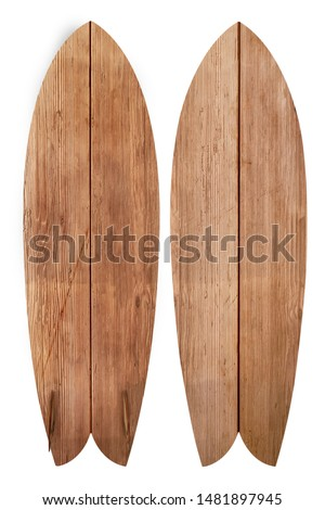 Vintage wood fish board surfboard isolated on white with clipping path for object, retro styles. #1481897945