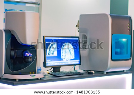 Workplace dental technician. Production of dental crowns. Milling dental system with computer control. Grinding and milling machine of dentures. Laboratory milling cutter for dental work. Dentistry. #1481903135