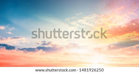World Environment Day concept: Orange cloudy sky background #1481926250