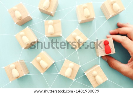 business concept image of people figures over wooden table, human resources and management concept #1481930099