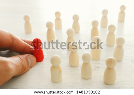 business concept image of people figures over wooden table, human resources and management concept #1481930102