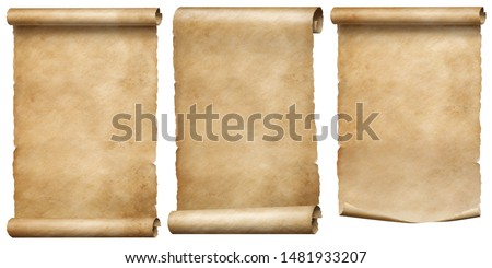 Vintage papers or parchment scrolls set isolated on white #1481933207