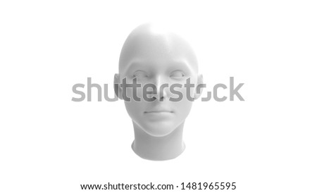 3d rendering of the top section of a human 3d model isolated in white studio background. #1481965595