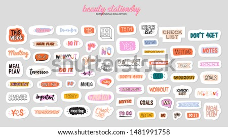 Collection of weekly or daily planner, note paper, to do list, stickers templates decorated by cute beauty cosmetic illustrations and trendy lettering. Trendy scheduler or organizer. Flat vector Royalty-Free Stock Photo #1481991758