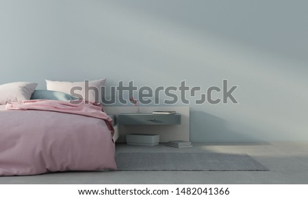 Minimalism style bedroom interior with pink bed against a light blue wall  / 3D illustration3d render #1482041366