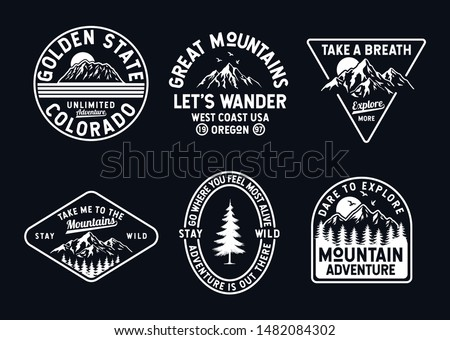 Vector set of wilderness and nature exploration vintage logos, emblems, silhouettes, patches and design elements Royalty-Free Stock Photo #1482084302