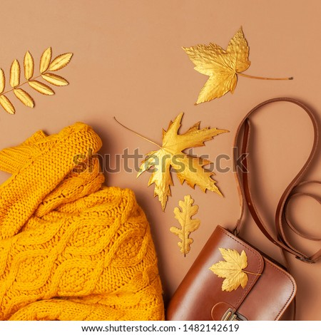 Brown leather women bag, orange knitted sweater, golden autumn leaf on brown background top view flat lay copy space. Fashionable women's accessories. Autumn Fashion Concept. Stylish Lady Clothes #1482142619