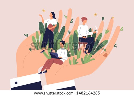 Giant hands holding tiny office workers. Concept of employee care, wellbeing at work or workplace, perks and benefits for personnel, support of professional growth. Flat cartoon vector illustration. #1482164285