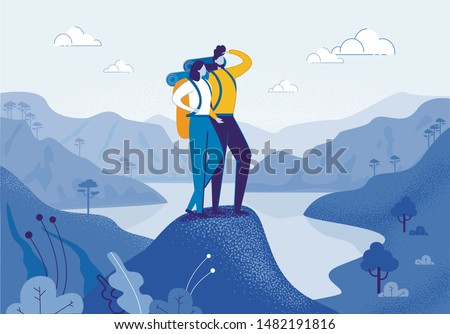 Young Woman and Man Couple Hiking in Mountains Flat Cartoon Vector Illustration. Friend Characters with Racksack in Journey with River or Lake on Background. Boy Looking ahead. Trip or Adventure. #1482191816