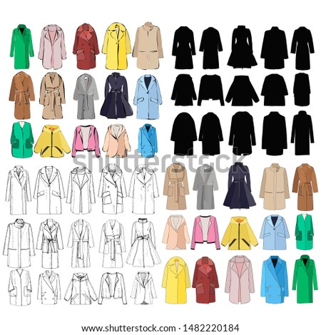 women clothes, coat set, isolated #1482220184