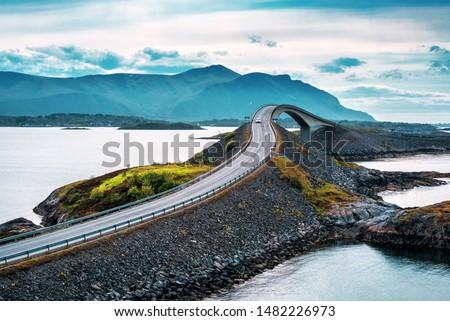 World famous Atlantic road bridge (Atlanterhavsvegen) with an amazing view over the norwegian mountains. #1482226973