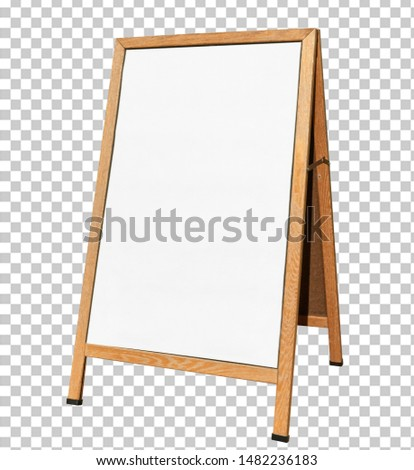 Blank wooden foldable sidewalk  signboard or sign mockup isolated on transparent background packaging template mockup collection with clipping path.