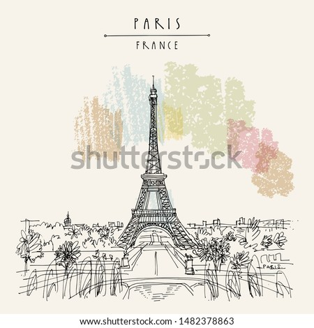 Paris, France, Europe. Eiffel Tower. Artistic hand drawing in retro style. European travel sketch. Vintage hand drawn touristic postcard, poster, artistic book illustration