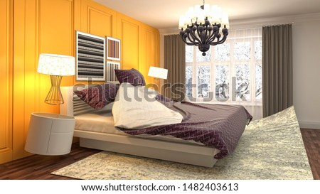 Zero gravity bed hovering in bedroom. 3D Illustration. #1482403613