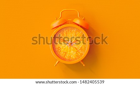 Orange clock. Minimal idea concept, 3D Render. #1482405539