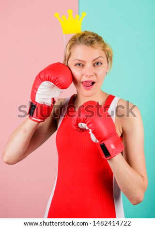 VIP gym. Woman boxing glove and crown symbol of princess. Queen of sport. Become best in boxing sport. Feminine tender blonde with queen crown wear boxing gloves. Fight for success. Fighting queen. #1482414722