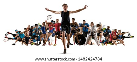 Sport collage. Running, soccer, fitness, bodybuilding, tennis, fighter and basketball players. Mixed image. On white background #1482424784