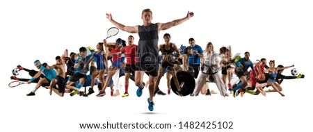 Sport collage. Running, soccer, fitness, bodybuilding, tennis, fighter and basketball players. Mixed image. On white background #1482425102