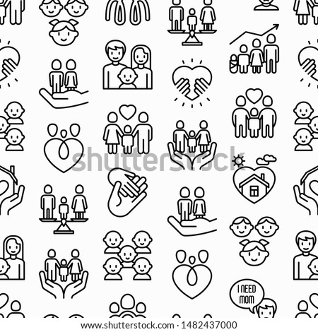 Child adoption seamless pattern with thin line icons: adoptive parents, helping hand, orphan, home care, LGBT couple with child, custody, cargivers, happy kid. Modern vector illustration. #1482437000