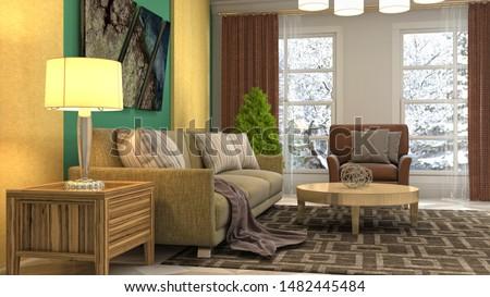Interior of the living room. 3D illustration. #1482445484