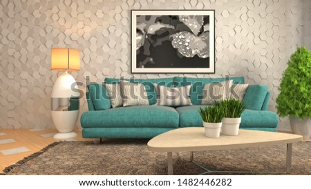 Interior of the living room. 3D illustration. #1482446282