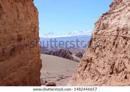 Atacama desert landscapes where you can see the Moon Valley, Death Valley and Chaxa Lagoon #1482446657